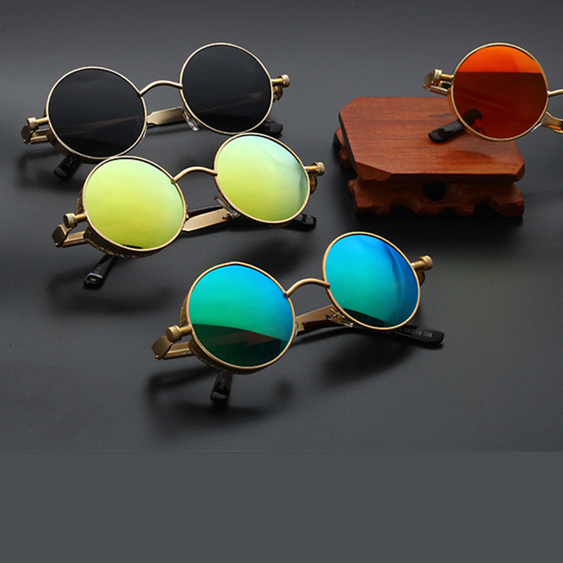 Steampunk Sunglasses Flip Circular Round Metal Vintage Women Retro Fashion UV400