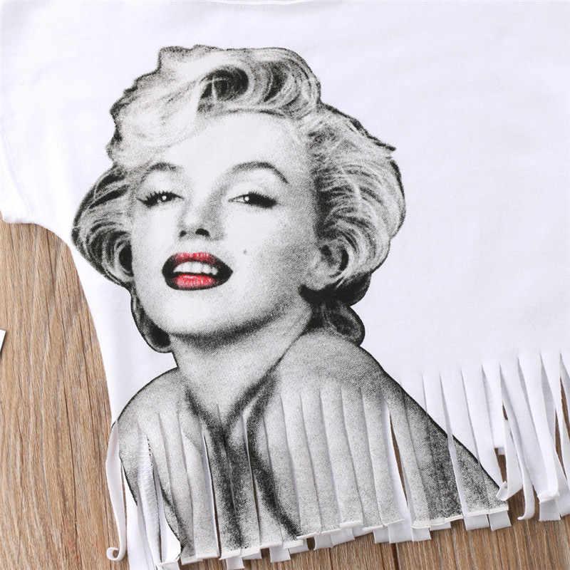 217fd406c ... Newborn Kids Baby Girls Marilyn Monroe Top T-shirt Clothes Costume  Summer Kid Girl White ...
