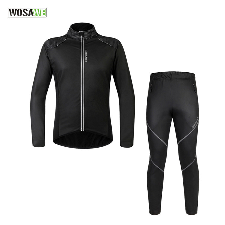 цены на WOSAWE Men Thermal Winter Windproof Cycling Jacket Set PU Waterproof Bike Bicycle Coat Clothing Cycling Sets Suits ropa ciclismo в интернет-магазинах