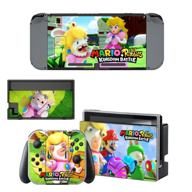 Nintend Switch Vinyl Skins Sticker For Nintendo Switch Console and Controller Skin Set - For Mario + Rabbids: Kingdom Battle 4