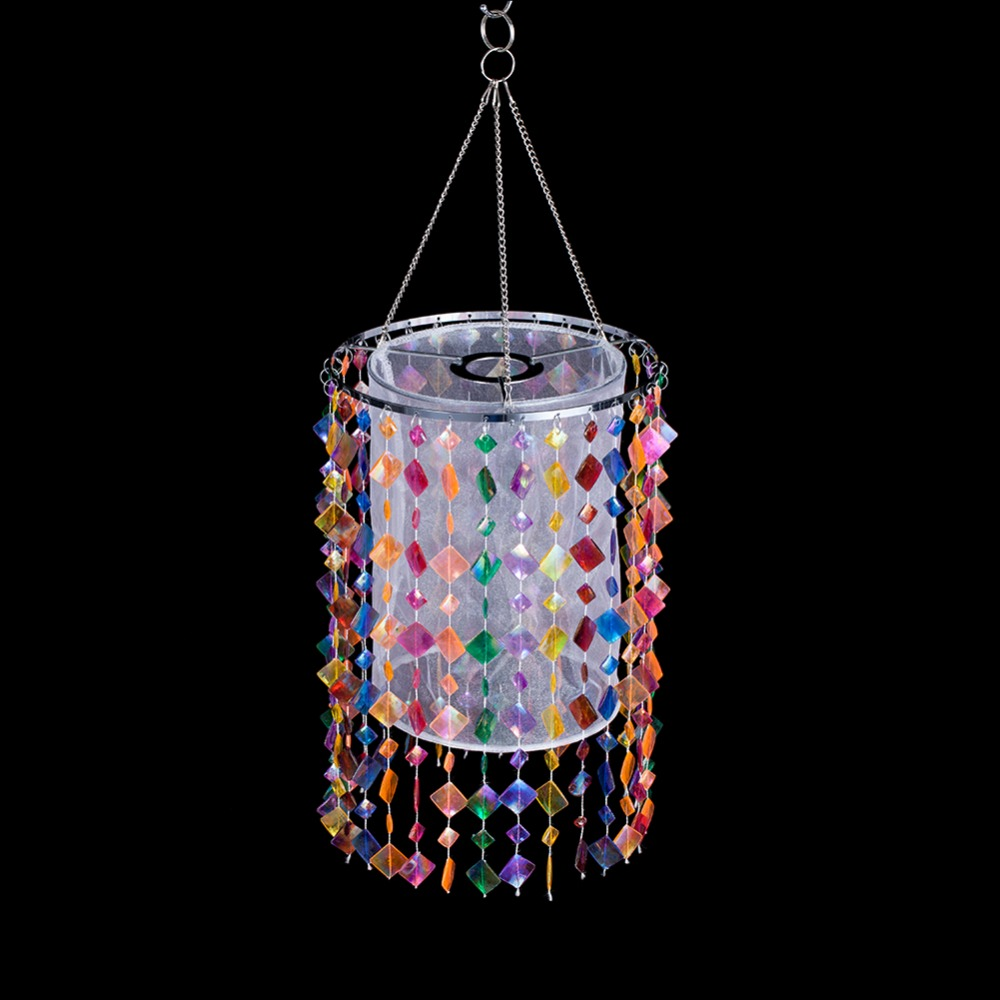E27 Colorful Lampshade for children Room Decoration Acrylic Beads Lamp Shade with Chrome Sliver Iron Frame for chandelier цена