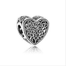 Fits for Pandora charm bracelet 925 sterling silver jewelry Hollow Heart Silver Charm DIY making 2016 Valentine's Day collection