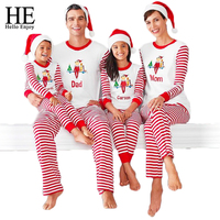 HE Hello Enjoy Christmas Pajamas Family Matching Outfits Matching Mother Daughter Clothes Father Son Clothes Family