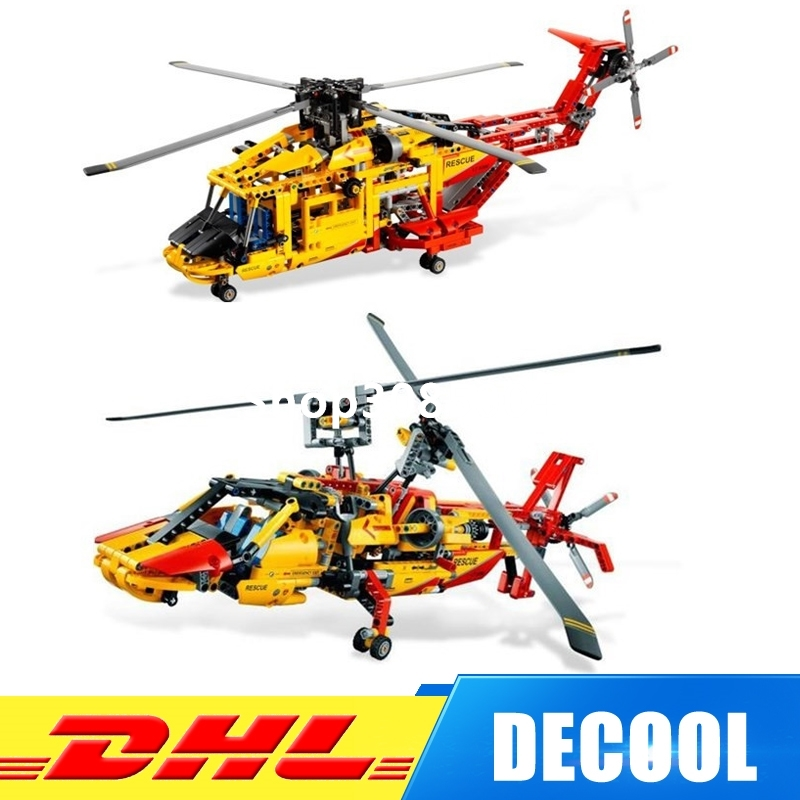 IN Stock DHL Decool 3357 Technic Rescue Helicopter 1056pcs 2 In 1 Transformable Model Building Block Sets DIY Toys decool 3357 technic city series 2in1 helicopter building block 1056pcs diy educational toys for children compatible legoe