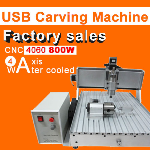 Factory direct sale CNC 6040 4axis 800w water cooling engraving machine usb port  carving machine ball screw cutting machine 2016 new machine manual press badge making machine factory direct sale