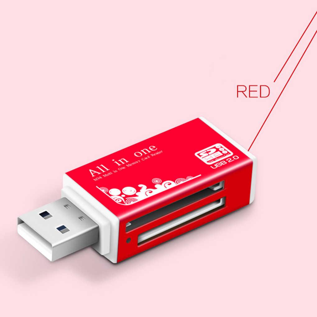 اللون عشوائي الكمبيوتر المحمول الألومنيوم SD MS M2 TF بطاقة كل في 1 البسيطة USB 2.0 قارئ بطاقات الذاكرة