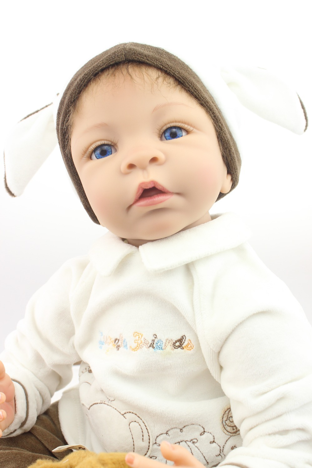 Lifelike reborn baby doll baby dolls fashion doll Christmas gift hot selling one new design model short curl hair lifelike reborn toddler dolls with 20inch baby doll clothes hot welcome lifelike baby dolls for children as gift