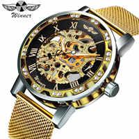 Gagnant mode affaires mécaniques hommes montres haut marque luxe squelette cadran cristal glacé montre-bracelet offre spéciale horloge 2019