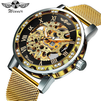 WINNER Fashion Top Brand Luxury Skeleton Dial Crystal Iced