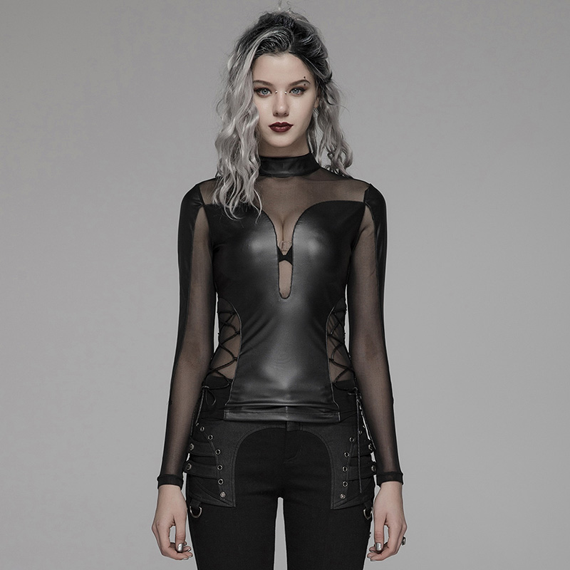 PUNK RAVE Women Punk Sexy Perspective Long Sleeve T shirt Sexy Club Party Leather Gothic Shirts