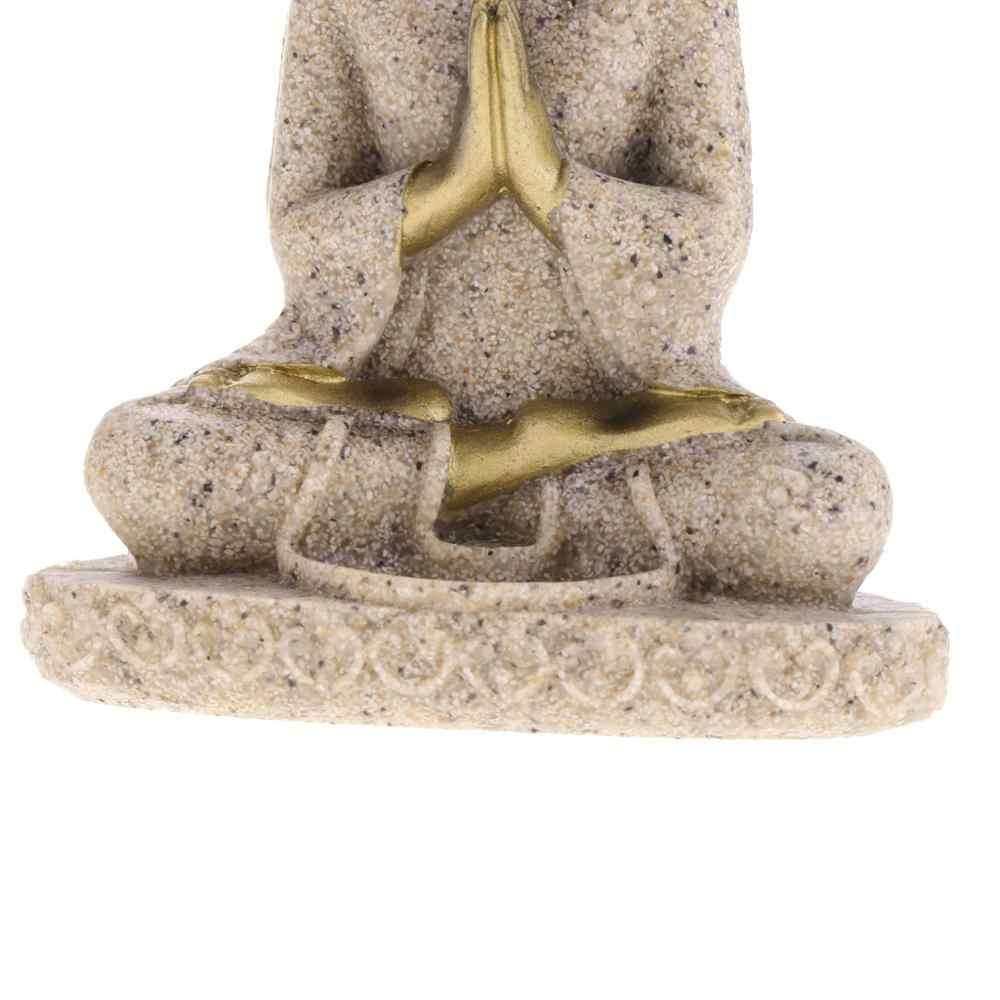 Magideal De Tint Zandsteen Meditatie Boeddha Standbeeld Sculptuur Handgemaakte Beeldje Meditatie Miniaturen Ornament Standbeeld Home D #3