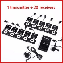 Wireless tour guide system audio guide for tour guiding church teaching 1 transmitter+20 receivers+mic+earphone+charger case