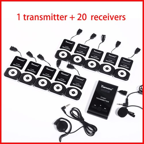 Wireless tour guide system audio guide for tour guiding church teaching 1 transmitter+20 receivers+mic+earphone+charger case fpv 1 2ghz 100mw 4ch wireless audio
