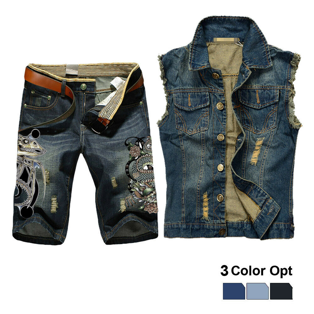 Men Jean Vest Jacket Set Retro Ripped Destroyed Skinny Hole Top Denim Short Pants 1/2 Trousers Summer Beach Wear Blue Snake