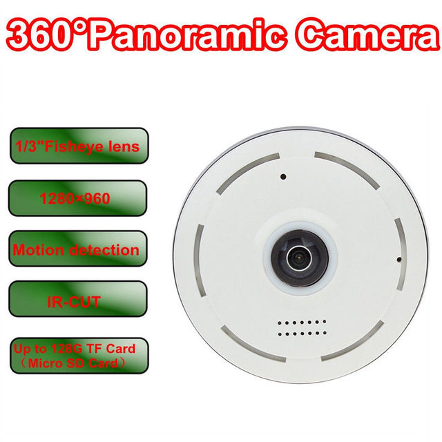"Free shipping! 960P Cylindrical Network HD 360 Degree Fisheye P2P WiFi IP Camera 1/3""Fisheye"