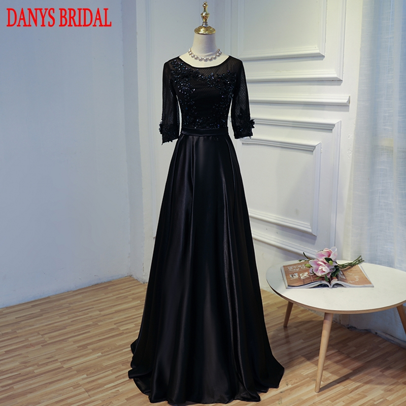 Black Long Sleeve Lace Evening Dresses Party Women A Line