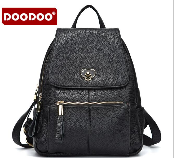 DOODOO 2018 Hot Sale Women PU Leather Backpack Vintage Lady School Bags High Quality Travel Shoulder bag mochila feminina FR370 hot sale women backpacks for girl teenagers vintage denim bags backpack school bag pack travel bag feminina knapsack