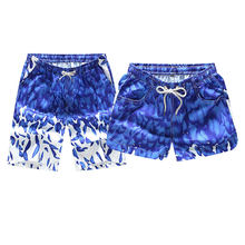 Men Women Summer Fashion Beach Shorts Blue Feather Printed Board Shorts Trunks 2018 New Casual Vacation Hawaiian Couple Shorts(China)