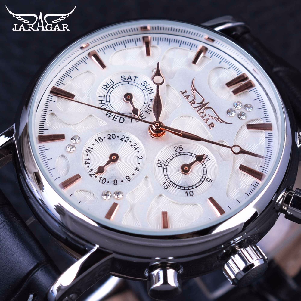 Jaragar 3 Dial Diamond Display Genuine Leather Strap Ripple Design Men Watches Top Brand Luxury Mechanical Automatic Watch Clock