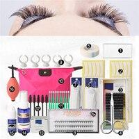 Professional 16 Pcs False Eyelash Extension Tools Set Makeup Tools Kits Individual Eye Lashes Grafting Tools Kit Set Bag