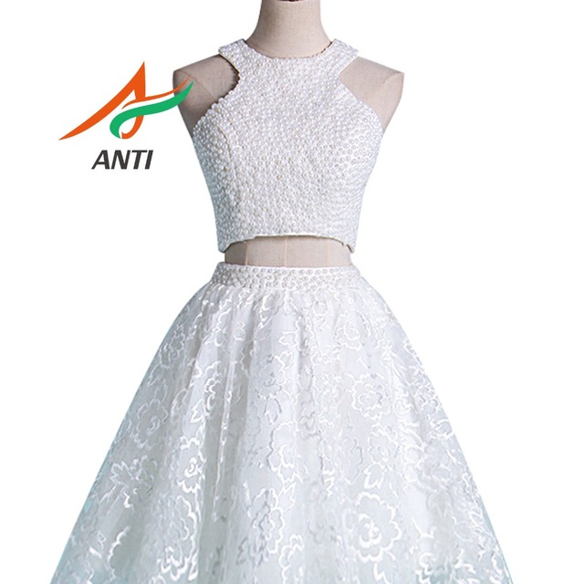 c57d363c90 US $126.53 5% OFF|ANTI Elegant Pearls Beaded A Line Formal Gown Knee Length  short Prom Dresses bridesmaid dresses quinceanera robe de soiree-in Prom ...