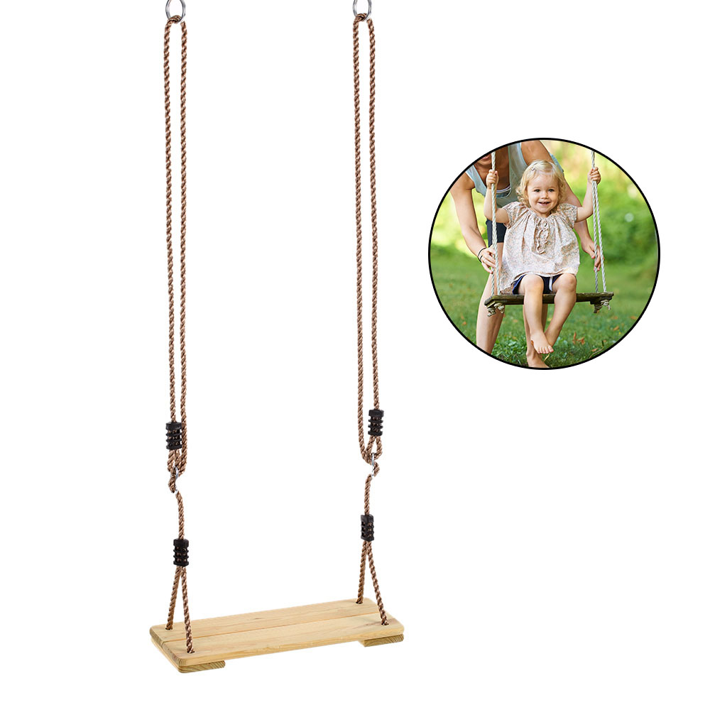 Safety Swing Chair Outdoor Adult Kids Tree Swing Seat Kids Trapeze Chair Wooden Hanging Seat Playground Backyard Swing With Rope Convenient To Cook Sports & Entertainment