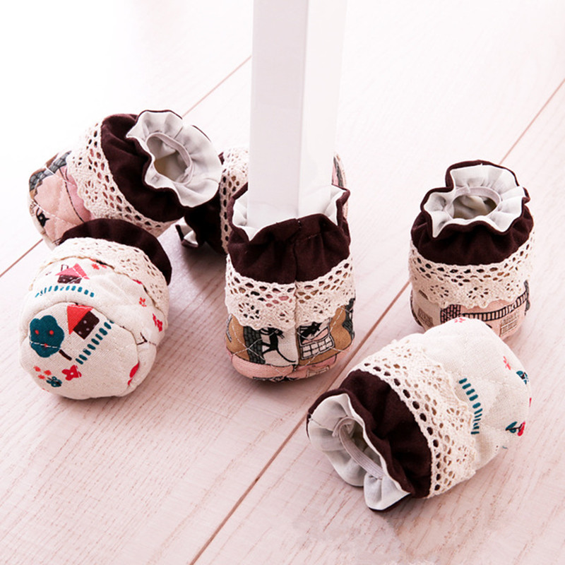 Cotton And Linen Lace 4Pcs Fabric Feet Chair Leg Table Foot Tips Covers Floor Protectors Floral Kint Doorknob Chair Cover Sock