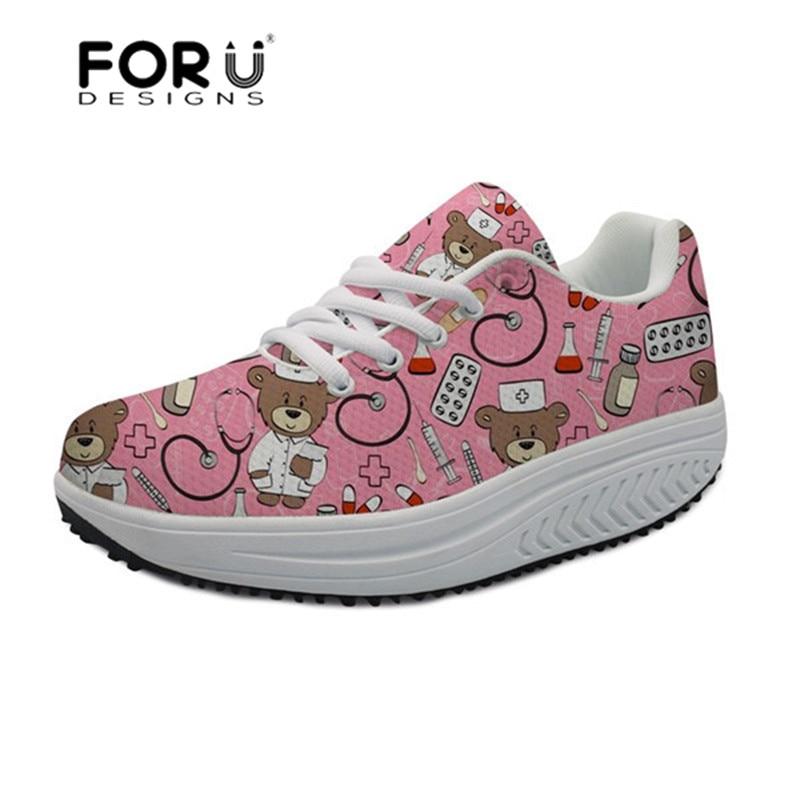 FORUDESIGNS Cartoon Bear Nurse Shoes Women Platform Sneakers Tenis Feminino Slimming Swing Shoes Mesh Women s