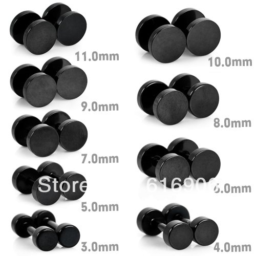 Black Plated Round Tragus Earrings Studs Gauges
