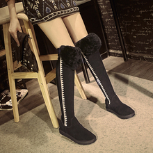 Women's Winter Platform Flats Over The Knee Boots Brand Designer Genuine Suede Leather Patchwork Elastic Long Boots Shoes Women