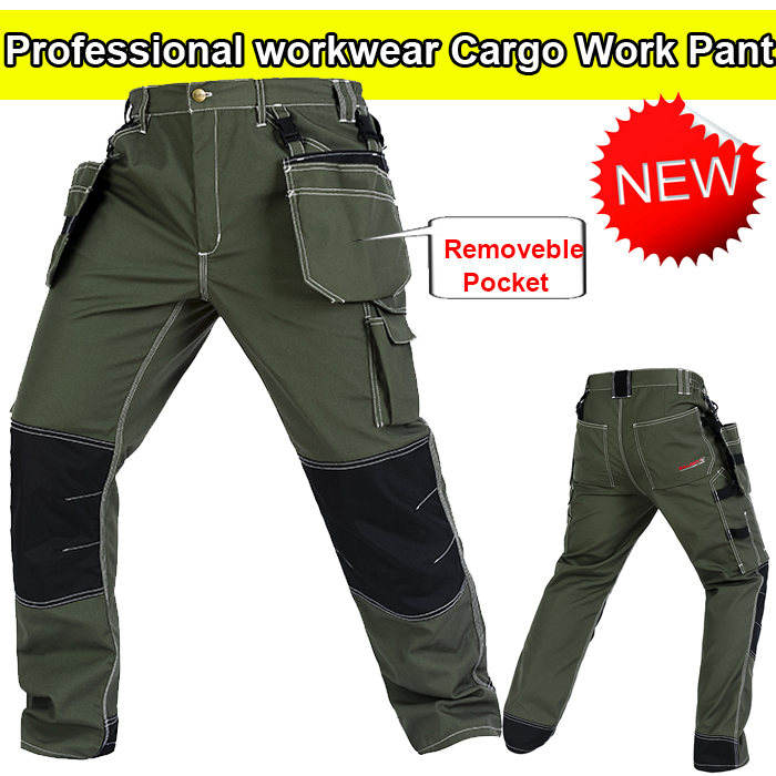 Bauskydd High Quality Men's green Cargo Pants Multi Pocket for Men Outdoors working Trousers mechanic trousers camouflage multi pocket loose fit straight leg zipper fly cargo shorts for men