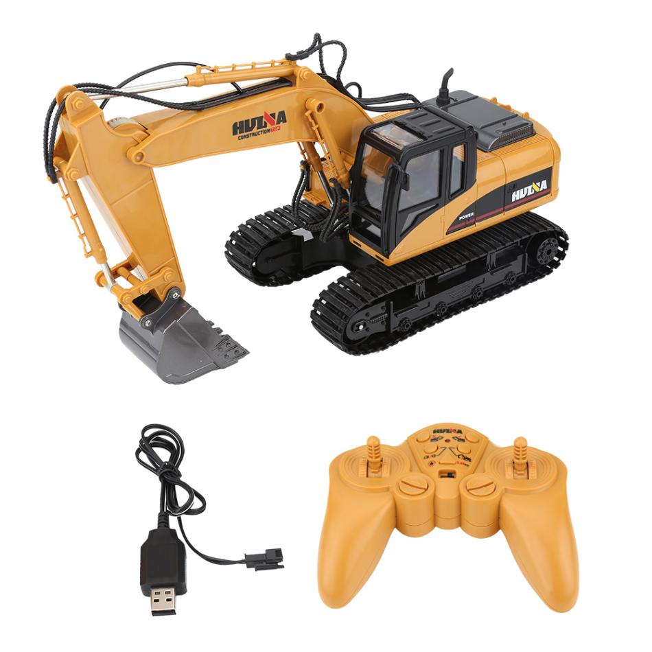 2.5GH 15CH Remote Control Digger Car RC Plastic Excavator with Battery RC Boys Toy Remote Control Toy Vehicle with USB Cable