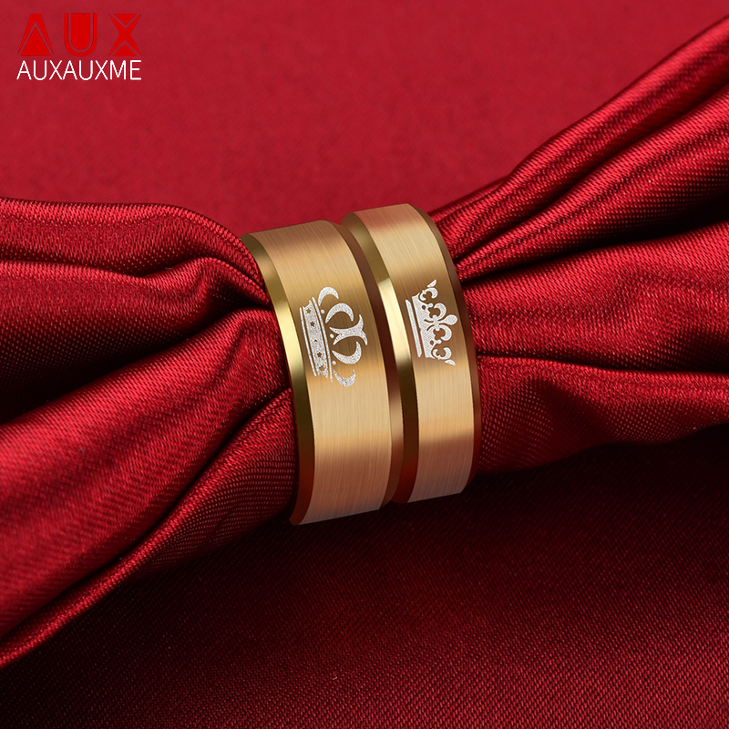 Auxauxme Gold Crown Couple Ring Stainless Steel Her King His Queen Wedding Bands Anniversary Jewelry Promise Ring For Lover 5-13