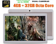 Envío Libre de DHL 10 pulgadas tableta 4G LTE FDD Octa Core 4 GB de RAM 32 GB ROM 8 Núcleos 1280*800 IPS GPS WiFi FM 10.1 pulgadas Tablets PC