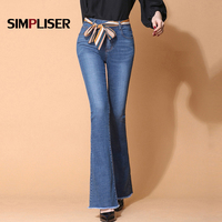High Stretch Women Flared Jeans Pants Plus Size 32 Female Slim Fit Denim Blue Trousers Hip Push Up Femme Pantalon Full Length