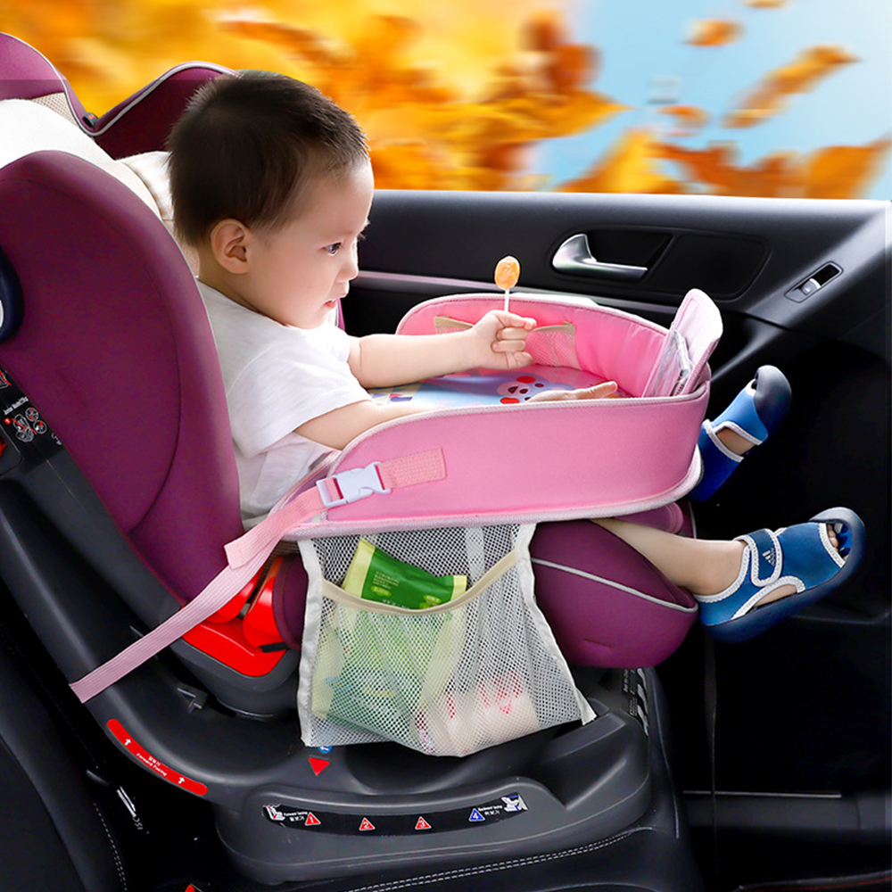 Carton Kids Car Safety Seat Tray Waterproof Stroller Holder Kids Toy Food Drink Table Portable Car Baby Seat Table Tray Plates