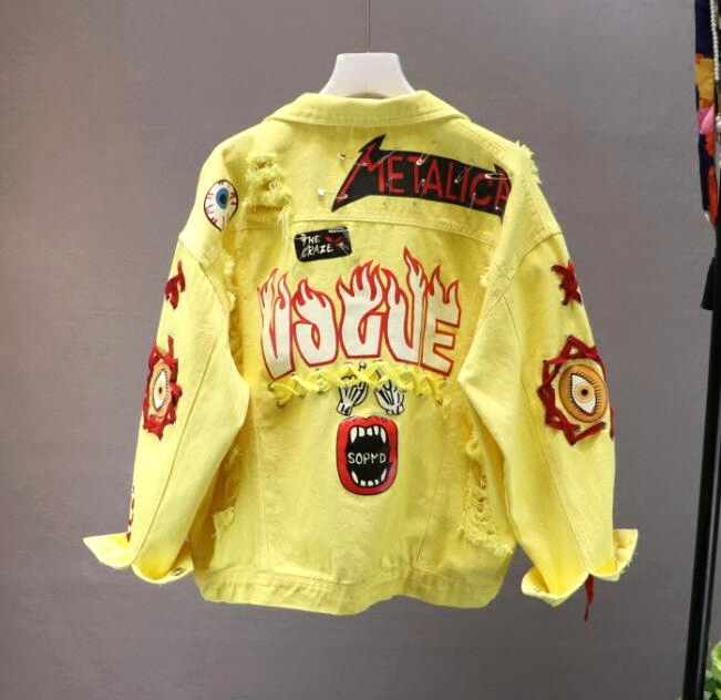 Hot DealsDenim Jacket Basic-Coat Bow Lace Spring Graffiti Autumn Women's Student Red/yellow Pin-Hole