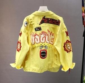 Image 2 - Red / Yellow Jeans Jacket New Spring Autumn Womens Graffiti Alphabet Printing Lace Bow Pin Hole Denim Coat Student Basic Coat