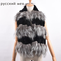 New Women Genuine knitted Fox Fur scarf Real rex rabbit Fur collar Winter Warm Neck Warmers stole silver fox scarf