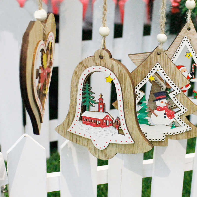 New Christmas Wooden Hanging Decor Christmas Tree Ornament Party Home Xmas Pendant Decor New Year Decoration Hand Made Gift