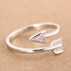 Shuangshuo Новое поступление 2017 года Модные посеребренные стрелы Кристалл Кольца для женщин Регулируемый Обручальное кольцо стрелка для женщин
