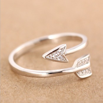 Shuangshuo New Arrival Fashion  Silver Plated Arrow crystal Adjustable Engagement ring