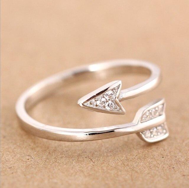 Shuangshuo 2017 Novos Chegada de Moda de Prata Banhado A Seta anéis de cristal para as mulheres anel De Noivado Ajustável seta mulheres