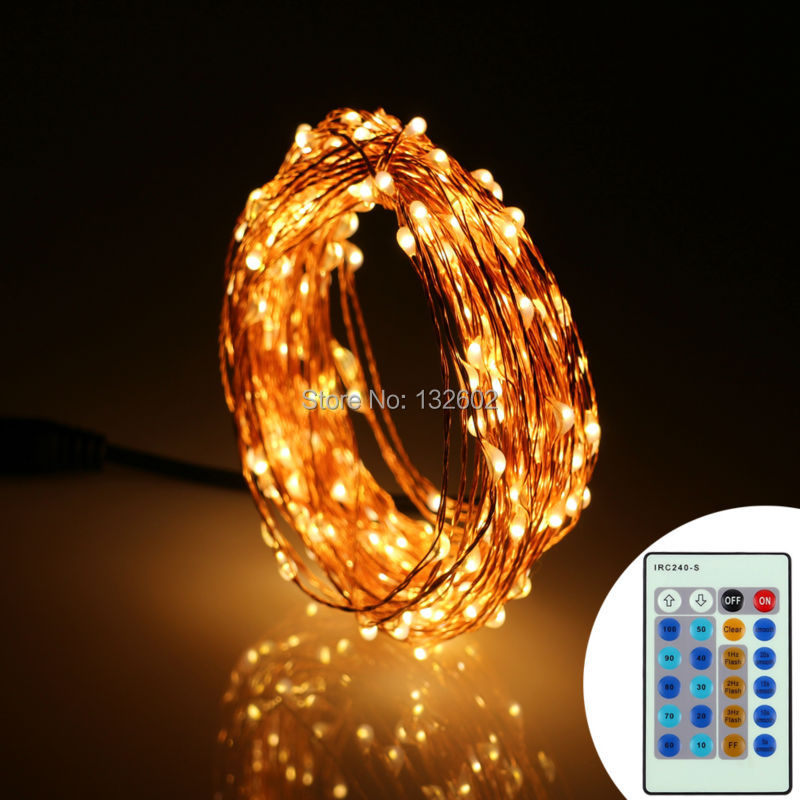 6M 20Ft 120Leds Copper Wire Christmas Fairy Lights Warm White Remote Control LED String Light Starry