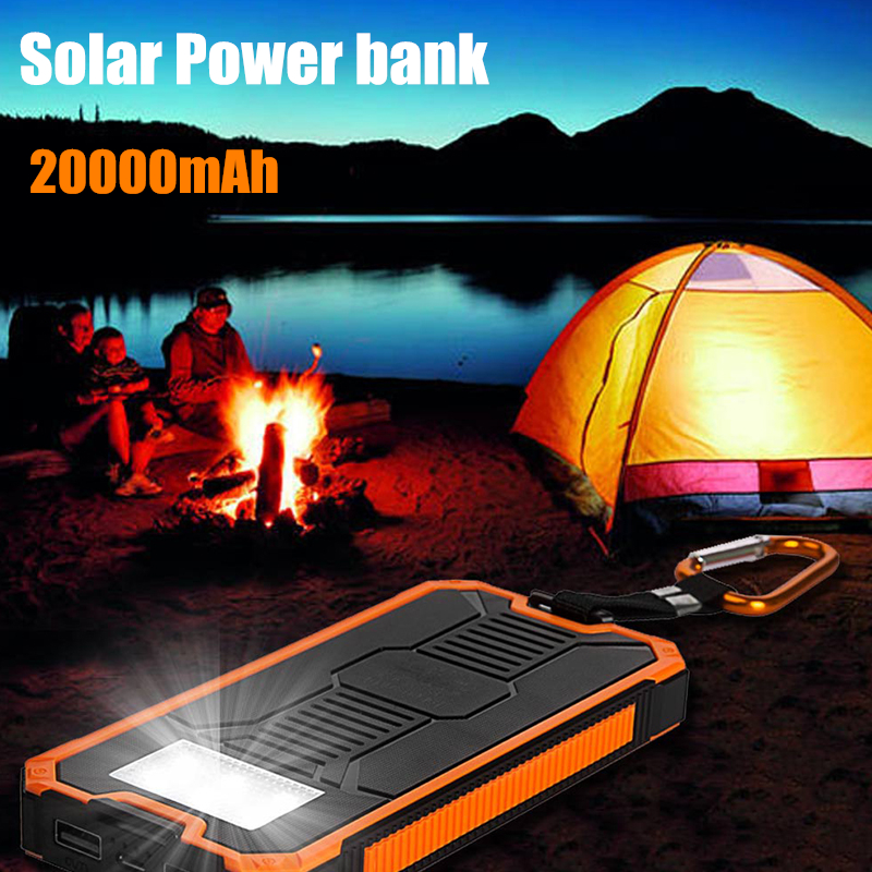 20000Mah New Waterproof <font><b>Solar</b></font> <font><b>Charger</b></font> Power Bank Portable External <font><b>Charger</b></font> Cellphone Battery <font><b>Charger</b></font> Cases For iPhone X 8