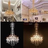 Длинная лестница люстра кристалл большой фойе свет современная мода гостиная столовая комплекс лестница освещение люстра