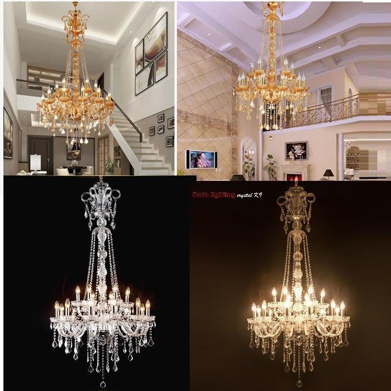 Длинные лестницы хрустальные люстры большой фойе свет современная мода Гостиная столовая комплекс лестница освещение люстры