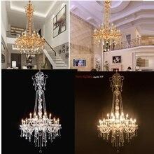 ארוך מדרגות נברשת קריסטל גדול מבואת אור מודרני אופנה סלון חדר אוכל מורכב מדרגות תאורת נברשת