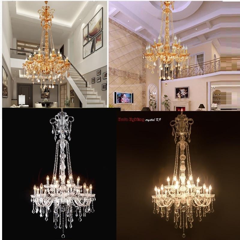 Long Escalier Lustre En Cristal Grand Vestibule Lumière Moderne Mode Salon Salle À Manger Complexe Escalier Éclairage lustre