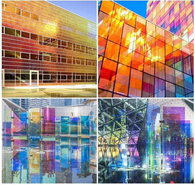 SUNICE-Film de décoration pour fenêtre arc-en-ciel   Film de décoration en verre, dichroïque, irisé, Film de fenêtre pour bâtiment de maison